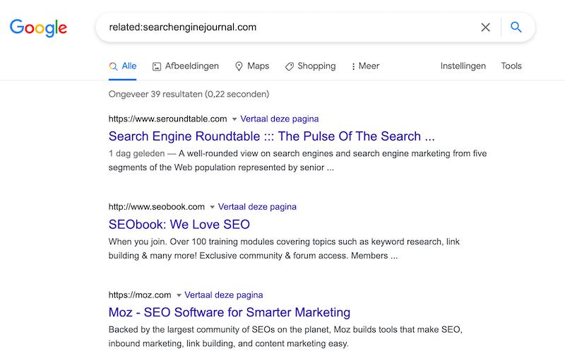 concurrentie vinden in google