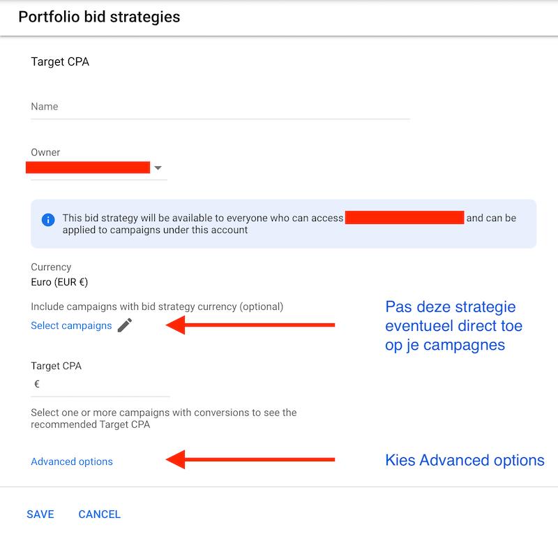 Geavanceerde opties Doel CPA Google Ads