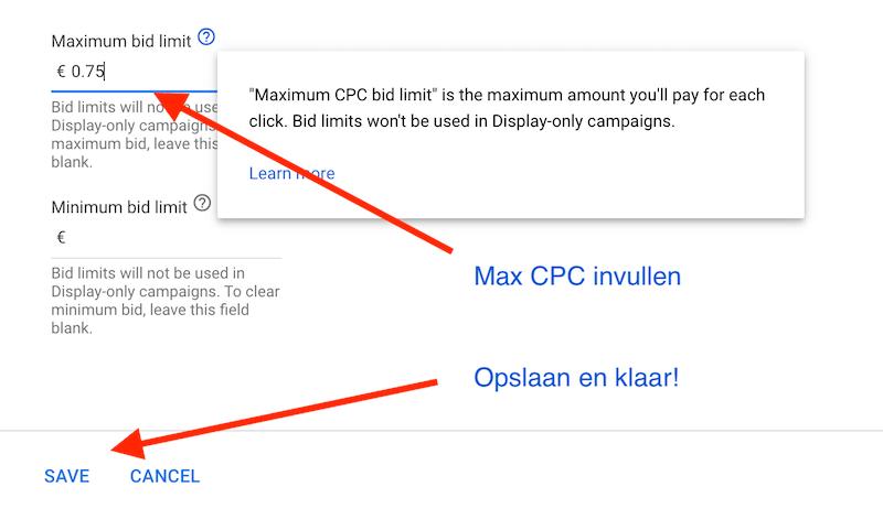 Maximale CPC limiet Doel CPA Google Ads